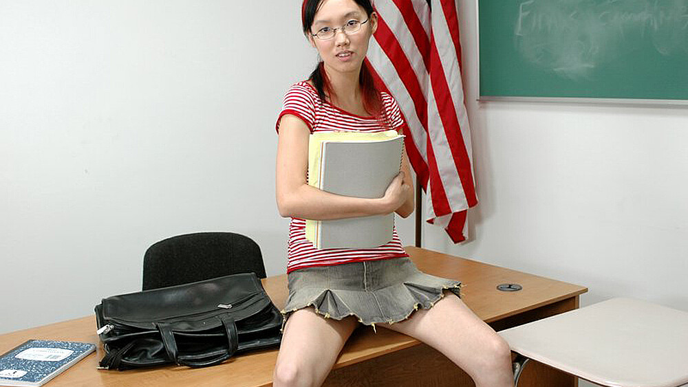 Lystra fucking in the classroom with her small tits
