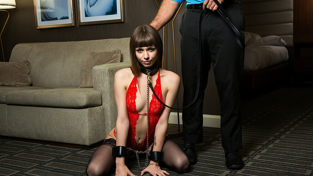 Alex Blake puts a leash on and does what she's told