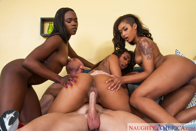 Porn star Skin Diamond, Leilani Leeane & Ana Foxxx having sex