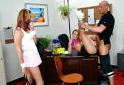 Aline, Trisha Rey & Christian in Naughty Athletics - Sex Position 1