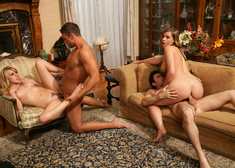 Lexi Belle, Brooke Lee Adams, James Deen & Rocco Reed in Naughty Rich Girls - Centerfold