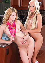 Ally Ann fucking in the kitchen counter with her innie pussy