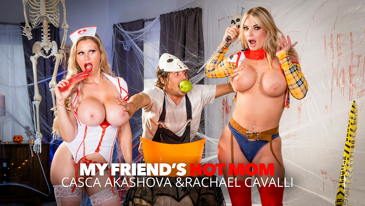 MILFs in costume, Casca Akashova & Rachael Cavalli, need some dick after a big scare!!