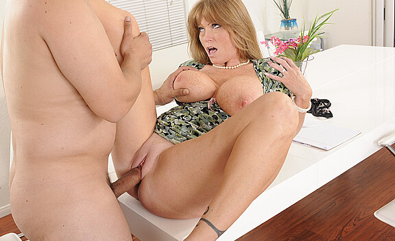 Mature Darla Crane fucking in the office with her tattoos - Sex Position #5