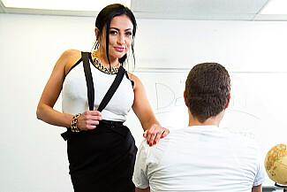 Audrey Bitoni fucking in the classroom with her big tits - Sex Position 2