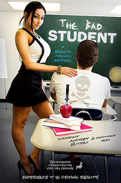 You: bad student. Audrey: teacher with big tits and an A+ pussy!