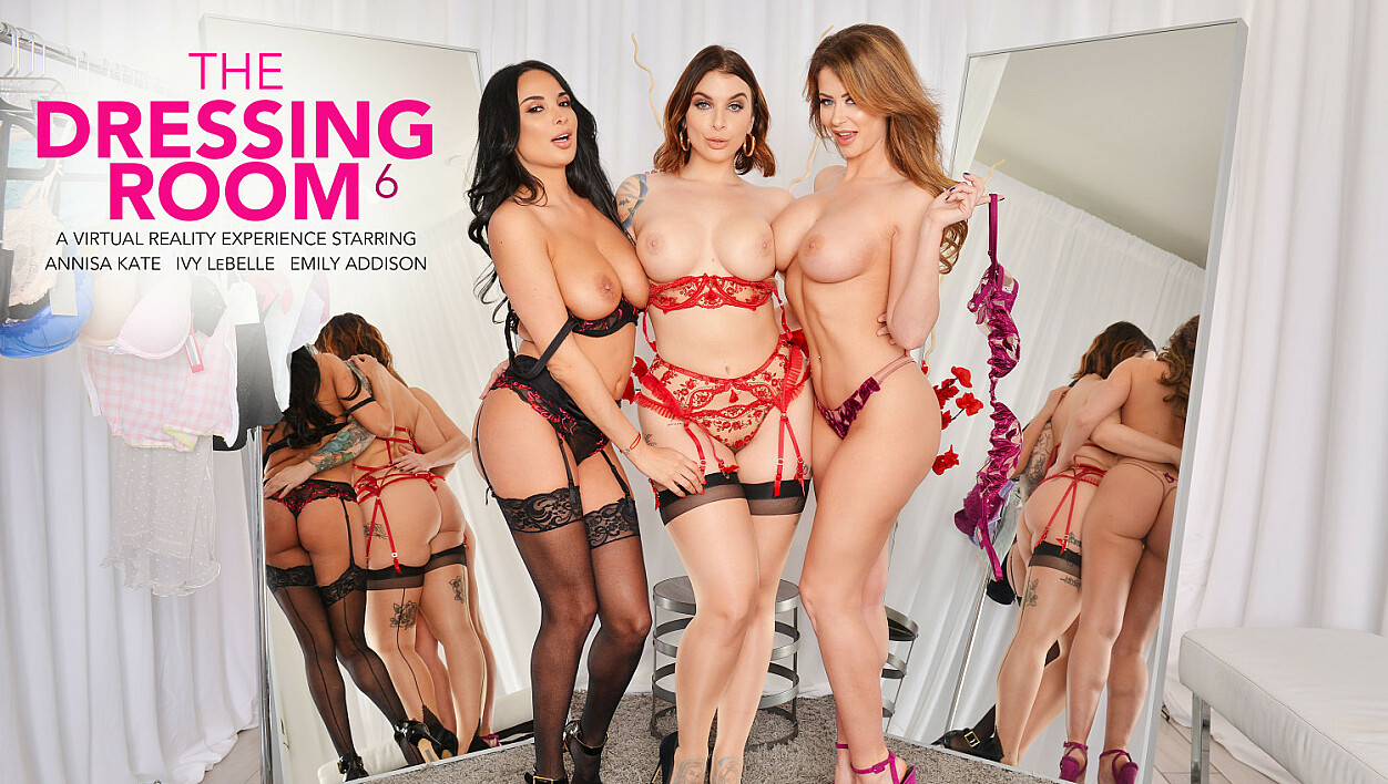 Anissa Kate, Emily Addison, and Ivy LeBelle get naughty in the dressing room