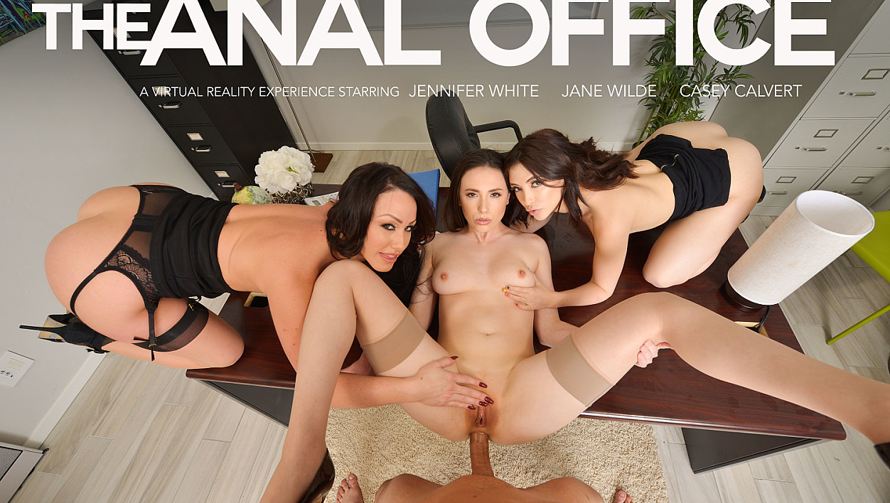 Office Anal Session with Casey Calvert, Jane Wilde, and Jennifer White