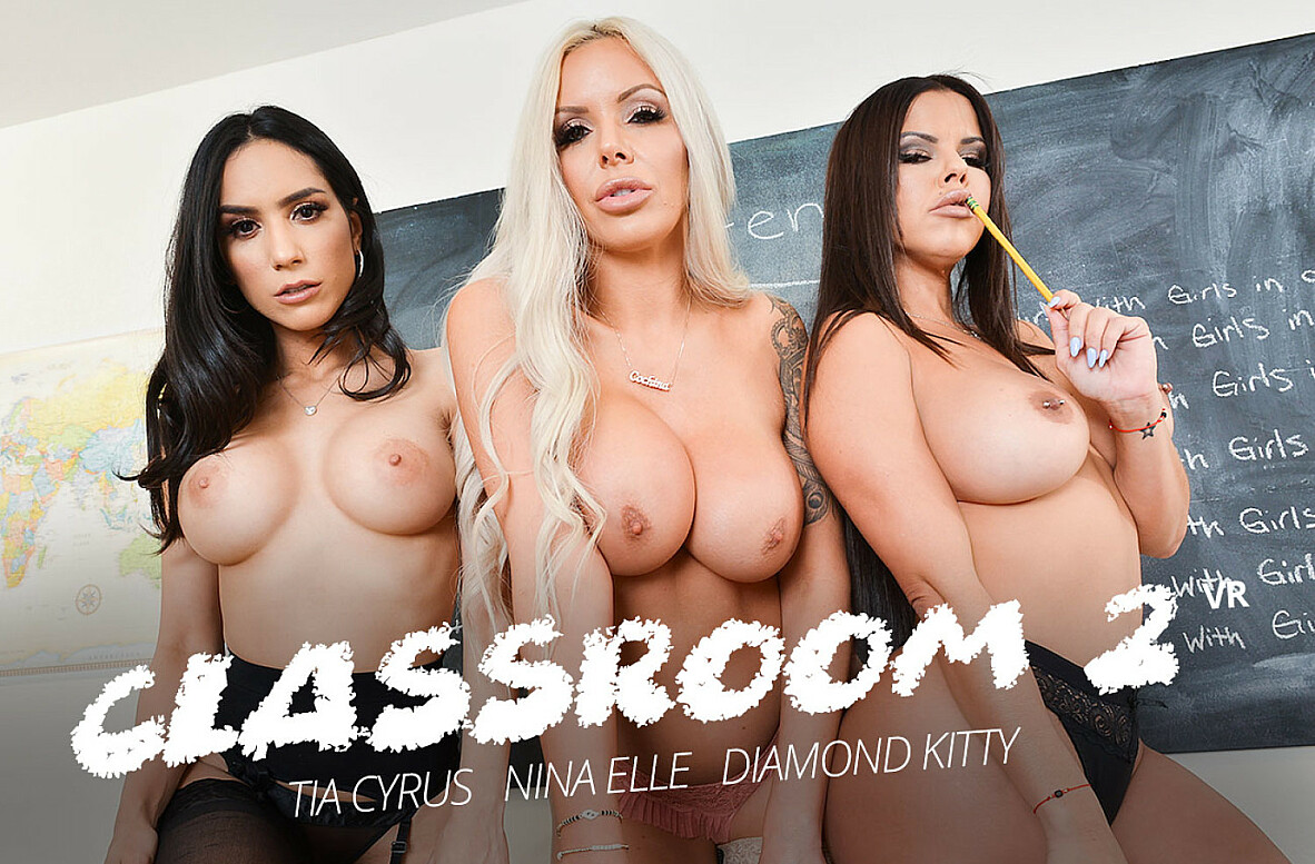 Watch Diamond Kitty, Nina Elle, Tia Cyrus and Brad Sterling VR video in Naughty America