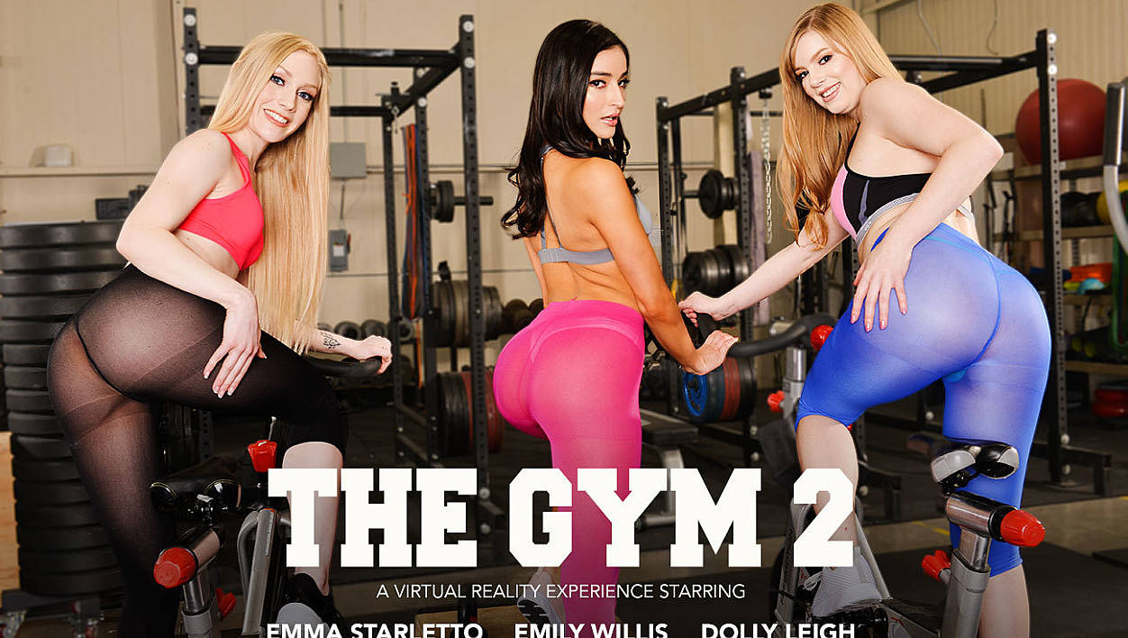 Group sex in the gym with Dolly Leigh, Emily Willis, and Emma Starletto