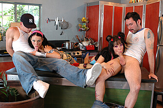 Roxy Deville fucking in the kitchen with her tattoos - Sex Position 2