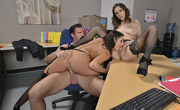 Ashley Adams fucking in the office with her brown eyes - Sex Position #6