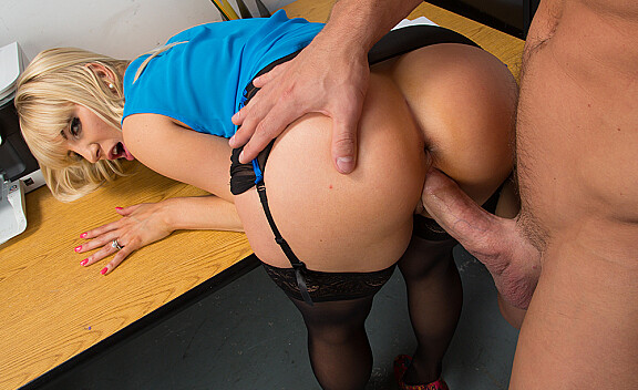 Blonde Ashley Fires fucking in the desk with her outie pussy - Sex Position #12
