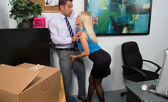 Blonde Ashley Fires fucking in the desk with her outie pussy - Sex Position #3