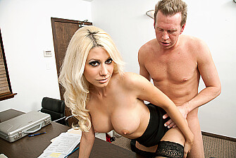 Blonde Jazy Berlin fucking in the chair with her tits - Blowjob