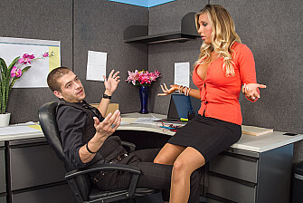 Boss Samantha Saint fucking in the desk with her blue eyes - Sex Position 1