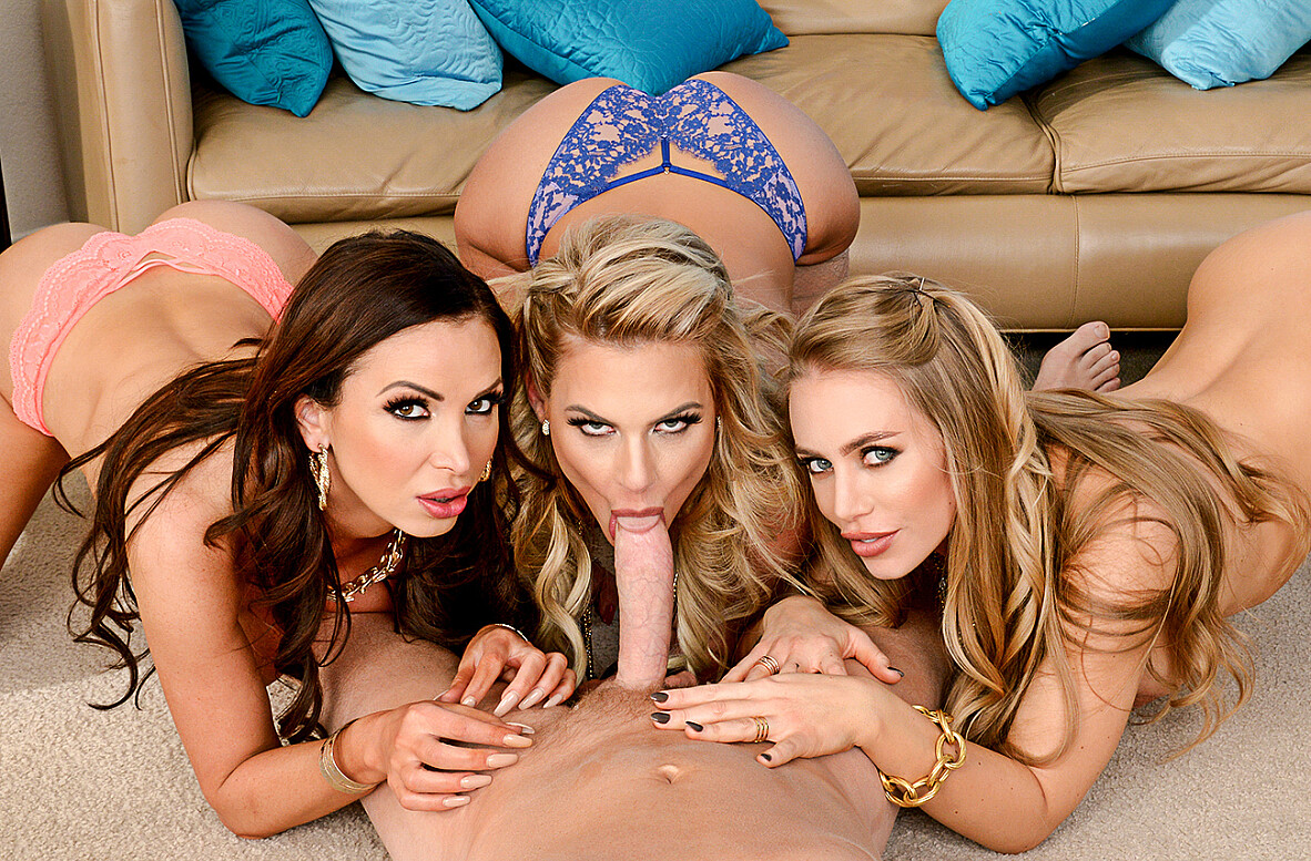 Watch Nicole Aniston, Nikki Benz, Phoenix Marie and Mark Wood 4K video in Naughty Rich Girls
