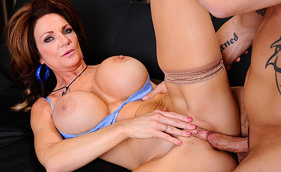 Brunette Deauxma fucking in the couch with her big tits - Sex Position #10