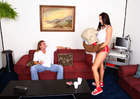 Gianna Michaels fucking in the couch with her hairy bush - Sex Position 1