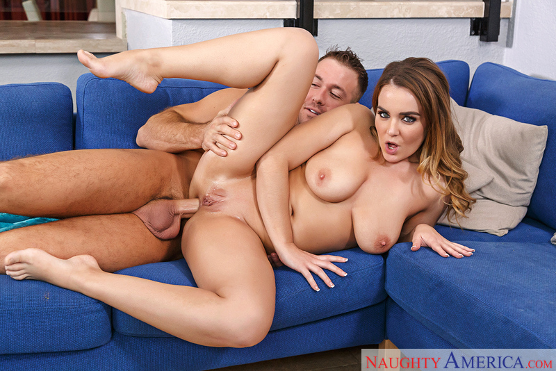 Natasha Nice fucking in the couch with her big tits - Blowjob