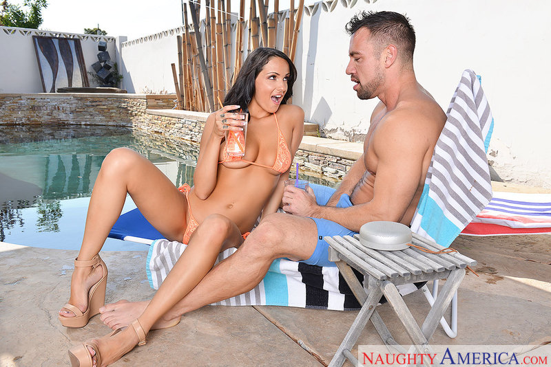 Sofi Ryan fucking in the patio with her big natural tits - Sex Position 1