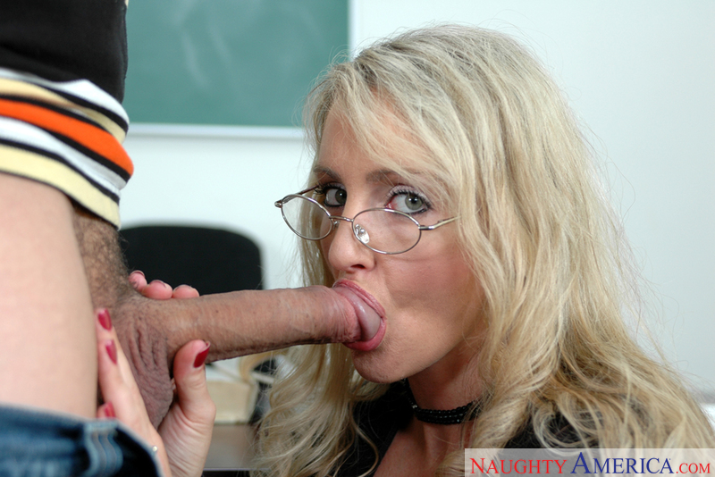 Blonde Lori Lust fucking in the classroom with her glasses - Sex Position 2