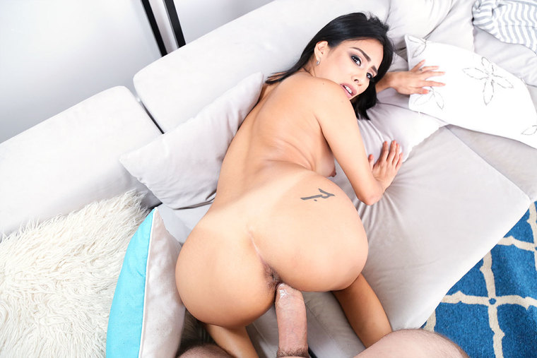 Monica Asis fucking in the couch with her medium tits
