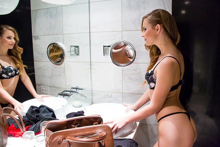 Jillian Janson fucking in the bedroom with her lingerie