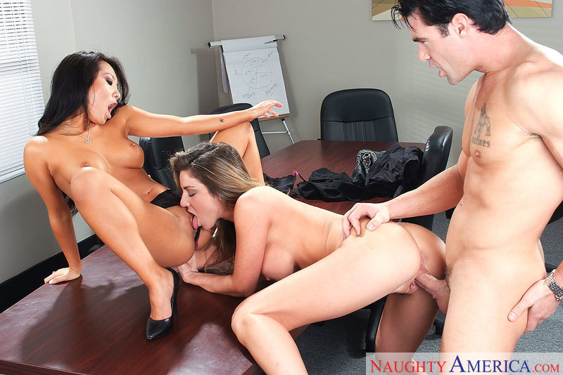 Caucasian Asa Akira fucking in the office with her petite - Sex Position 2