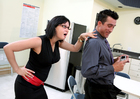 Shaved Tory Lane fucking in the break room with her glasses - Sex Position 1