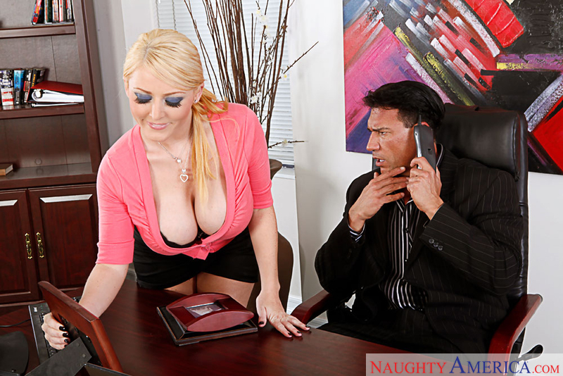 Blonde Sophie Dee fucking in the chair with her big tits - Sex Position 1