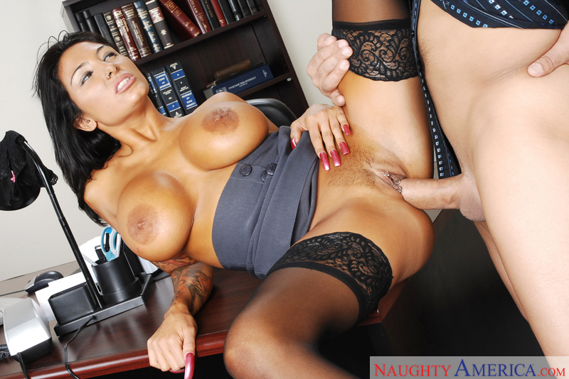 Lawyer Ricki Raxxx fucking in the desk with her piercings - Sex Position 3