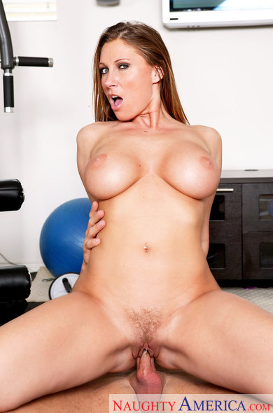 Cougar Devon Lee fucking in the gym equipment with her tits